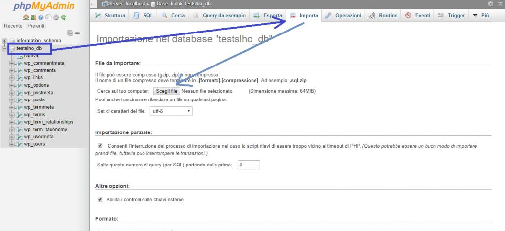 Importiamo il database da locale al phpMyAdmin del nuovo server