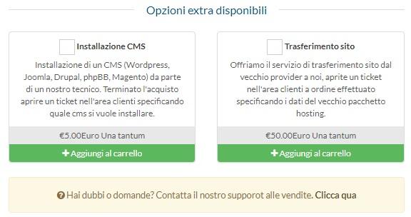 """Scelta opzione """"Installa CMS"""" o """"Trasferisci Sito"""""""