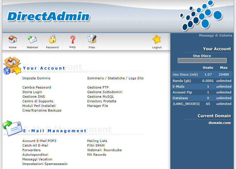 Direct Admin: Schermata Iniziale