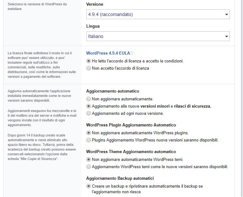 Installatron: esempio di installazione WordPress